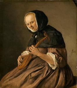 Vrouw spelend op een cister