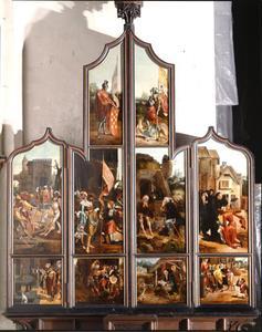 Scènes uit het leven van de H. Antonius (buitenzijde linkerluik); Scènes uit het leven van de H. Sebastiaan (buitenzijde rechterluik); De H. Joris (buitenzijde linker bovenluik); De H. Quirinus (buitenzijde rechter bovenluik)