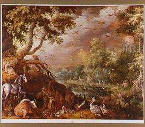Boslandschap met allerlei dieren; op de achtergrond de dood van Orpheus