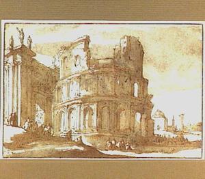 Figuren bij een Romeinse ruïne