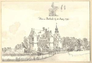 Het kasteel te Borculo van de voorzijde, met boven het kasteel detailtekeningen van de galerij boven de ingang