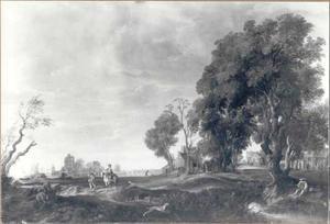 Landschap met valkenier en ruiter op een landweg; in de verte een kasteel