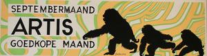 Artis-Septembermaand-Tram-Affiche: drie lopende apen