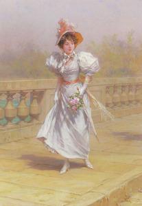 Dame met boeket in de hand maakt een wandeling