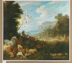 Landschap met de dieren op weg naar de ark van Noach (Genesis 7:1-15)