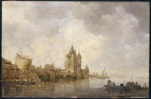 Rivierlandschap met de stadswal van Haarlem met de Amsterdamse Poort of Spaarnwouderpoort