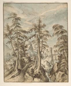 Berglandschap met bomen en beekje