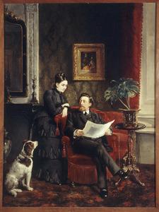 Portret van een man en een vrouw, mogelijk Reneke Gockinga (1846-1915) en mogelijk Ernestina Louisa Franckle (1858-1909)