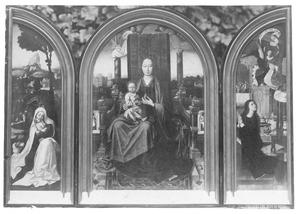 De rust op de vlucht naar Egypte (links), Maria met kind (midden), de annunciatie (rechts)