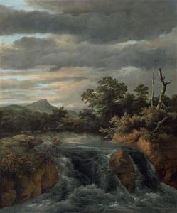 Waterval in een bebost landschap