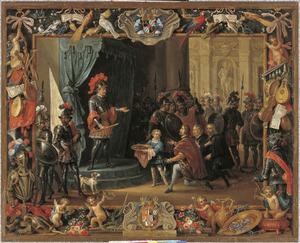 Don Antonio Moncada verleent de rebellen genade en verzoent ze met  koningin Bianca
