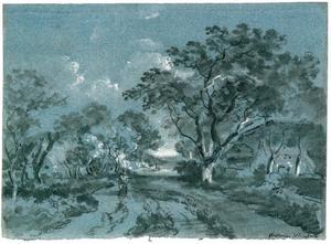Landweg met bomen en boerenhuizen