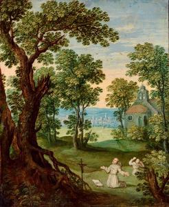 Landschap met de stigmatisering van de heilige Franciscus van Assisi