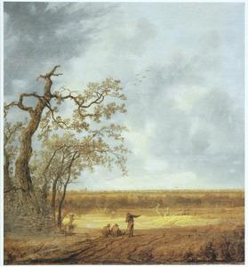 Weids landschap met enkele figuren bij een groepje bomen