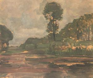 Isolated tree on the Gein with gray sky
