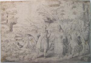 Abraham geeft schapen, ossen en lammeren aan Abimelech; in de achtergrond: de Filstijnen vullen Abrahams putten