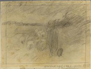 Schets van een schaapskudde met herder