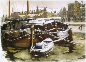 Turfschepen in de Oude Schans te Amsterdam