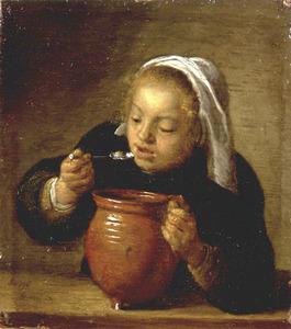 Etende vrouw