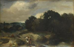 Landschap met Tobias en de engel op weg naar Ekbatana (Tobias 6: 1-19)
