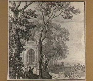 Parklandschap met klassieke architectuur, figuren en fontein