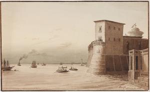 De haven van Livorno met de Fortezza Vecchia