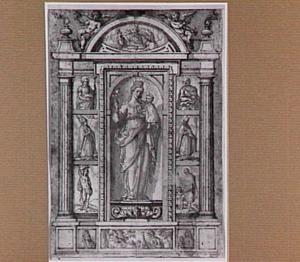 Maria met kind in een nis, omgeven door heiligen