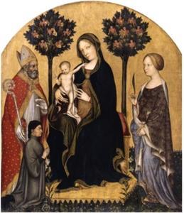 Tronende Madonna met kind, met Heilige Nikolaas van Bari, Heilige Catharina van Alexandrië en een donor