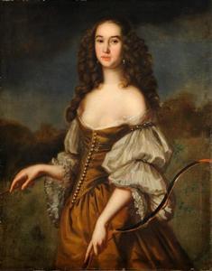 Jonge vrouw geportretteerd als de godin Diana