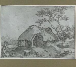 Landschap met boerderij en herder