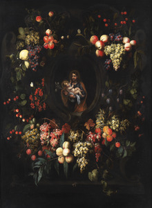 Afbeelding van Jozef met het Christuskind in een cartouche omringd door vruchten