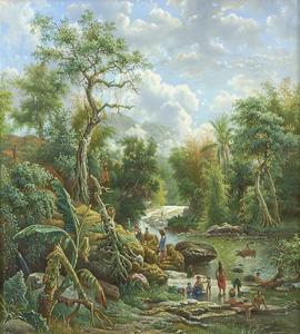 Gezicht op de rivier de Brantas en het Kawigebergte te Malang
