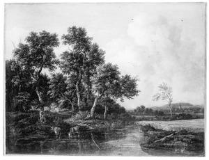 Bebost landschap met een herder en twee koeien bij een riviertje