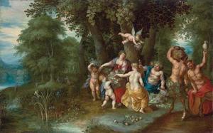 Venus, Cerus en Bacchus in een boslandschap: een allegorie op de Herfst
