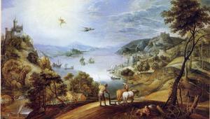 Weids rivierlandschap met de val van Icarus