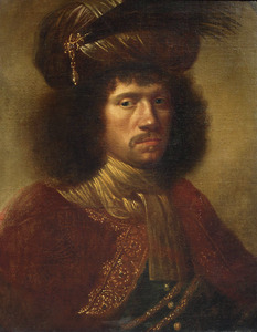 Portret van een onbekende man met bepluimde tulband