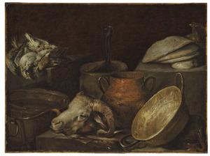 Stilleven met ramskop, jachtbuit,  aardewerken kan en andere objecten in een keukeninterieur