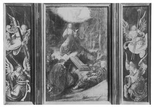 Engelen met lijdenswektuigen (links); Christus in de hof van Gethsemane (midden); Engelen met passiewerktuigen (rechts)