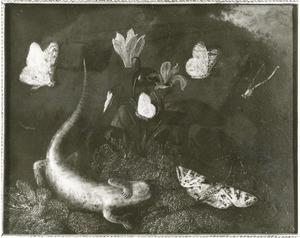 Bosstilleven met dode salamander