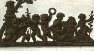 Trompe l'oeil van een bronzen fries met een kinderbacchanaal