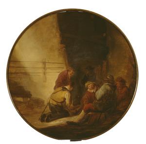 Rustende soldaten in een schuur