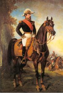 Portret van Keizer Napoleon III als divisisiegeneraal te paard