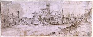 Gezicht over de Tiber in Rome, met het Isola di San Bartolomeo (Isola Tiberina), de Ponte S. Bartolomeo links en de Ponte Quattro Capi rechts