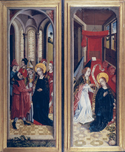 Het huwelijk van Maria en Jozef (links); De annunciatie (rechts)