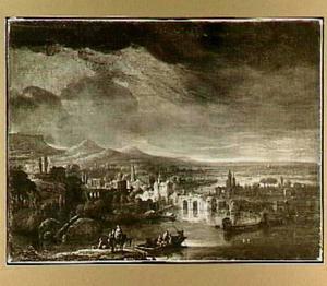 Uitgestrekt landschap met stad aan een rivier; op de voorgrond de vlucht naar Egypte