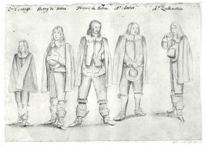 Groepsportret van Willem II van Oranje-Nassau (1626-1650), Heinrich zu Dohna (1623-1643), Friedrich zu Dohna (1619-1688), waarschijnlijk David van Marlot (1593-1680) en Frederik van Nassau-Zuylenstein (?-1672)