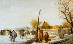 Winterlandschap met bevoren rivier