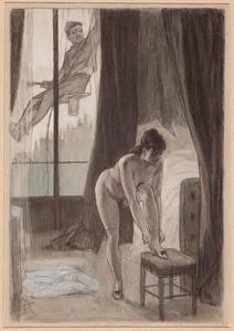 Vrouw die wordt begluurd door een huisschilder