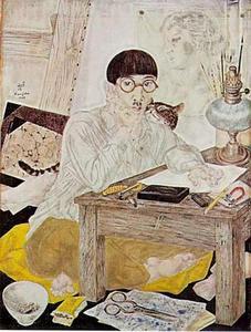 Zelfportret werkend in zijn atelier