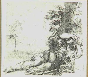 Ontwakende herder in landschap